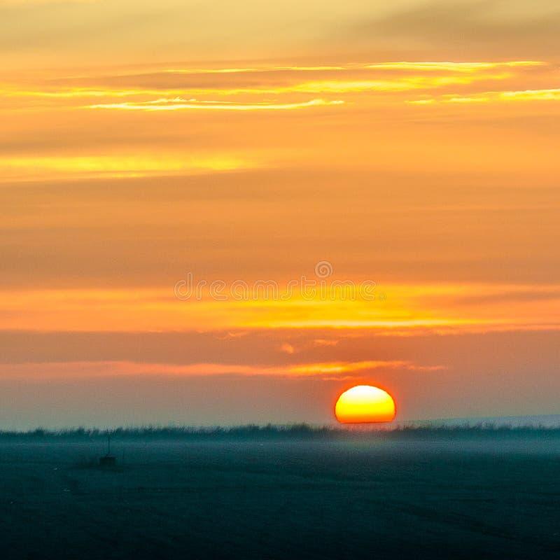 日出在扬博尔,保加利亚 免版税图库摄影