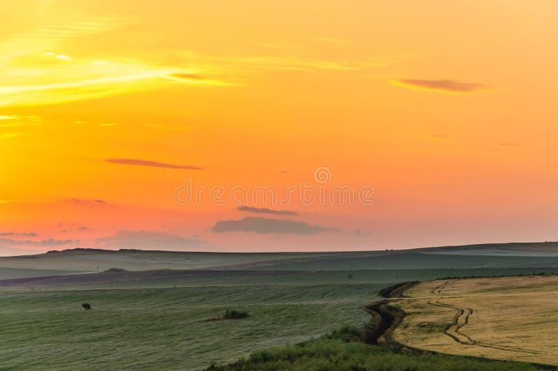 日出在扬博尔,保加利亚 免版税库存照片