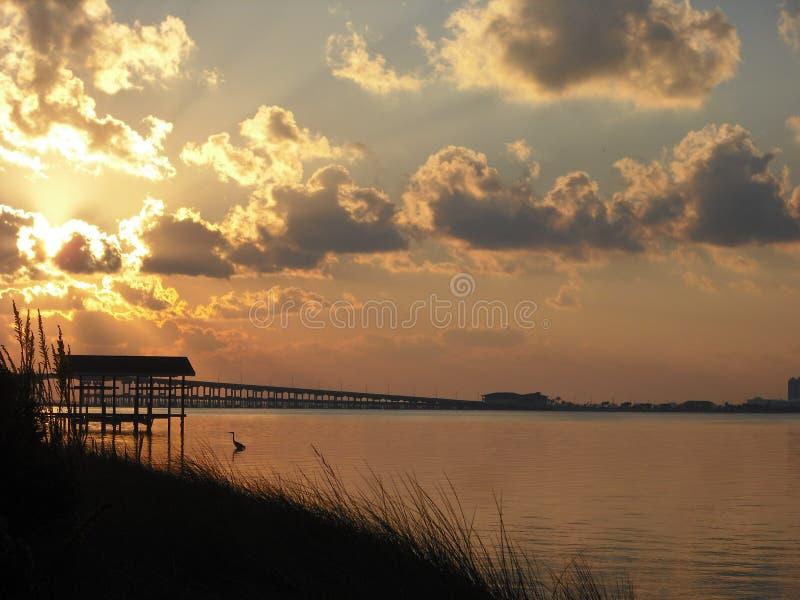 日出在有海洋的佛罗里达 库存图片