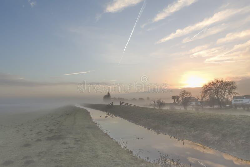日出在荷兰在与霜的一个有薄雾的冬天早晨在绿草 库存图片