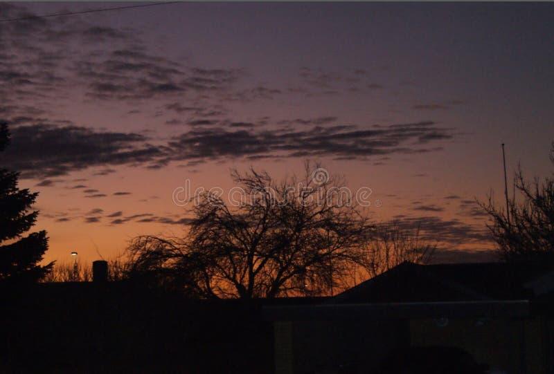 日出在06:15上午和树和房子是象黑剪影 免版税库存照片