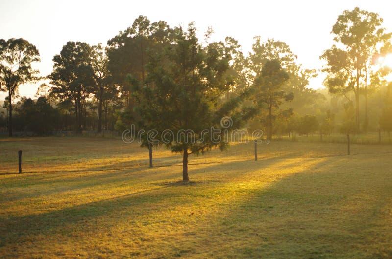 日出在洪特尔谷 库存图片