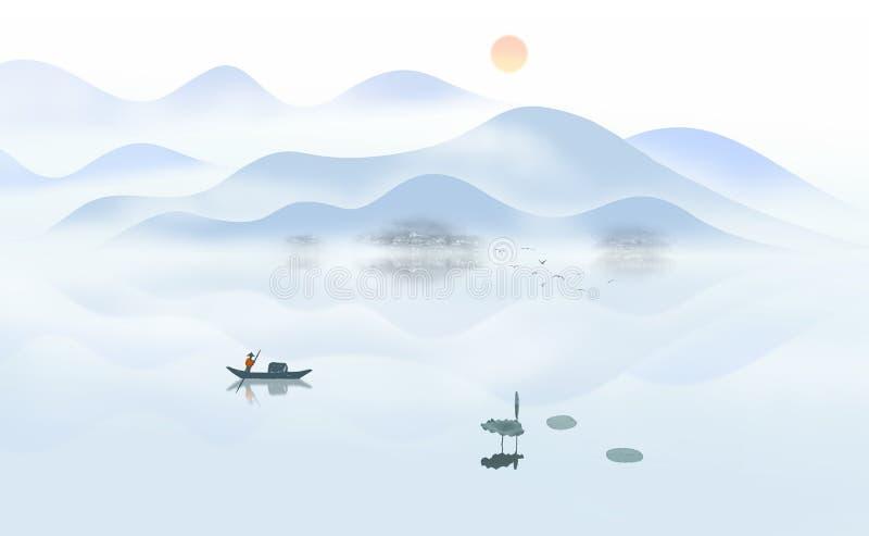 日出小船妙境中国墨水绘画 皇族释放例证