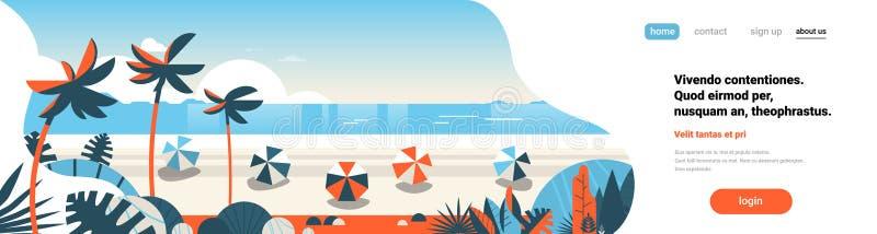 日出热带棕榈滩球暑假海边背景海海景平的水平的横幅拷贝空间 向量例证
