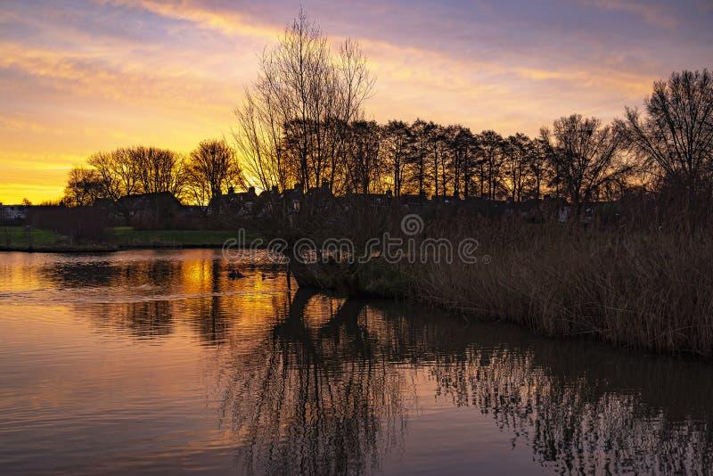 """日出的太阳在荷兰Zoetermeer的""""德魏德""""公园的水面上燃起熊熊烈焰 免版税图库摄影"""