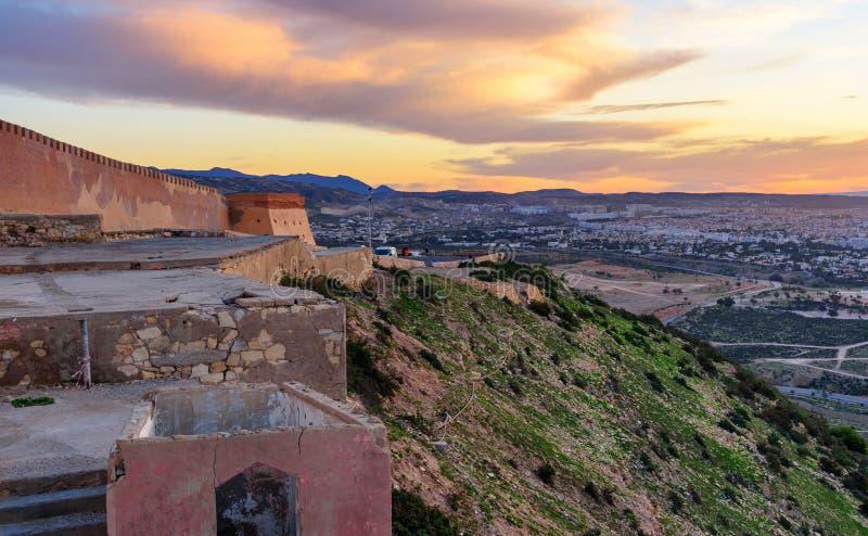 日出的阿加迪尔堡垒,摩洛哥 免版税库存图片