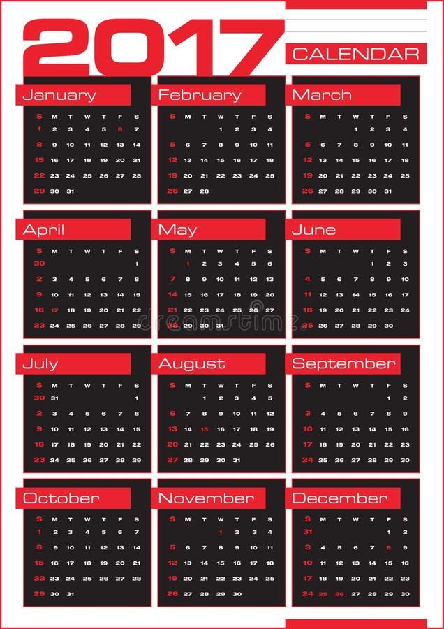 2017日历与在黑角规的几个月 皇族释放例证
