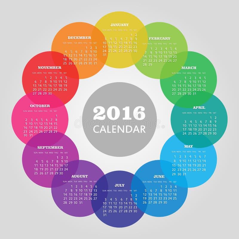 日历与色环的2016年 库存例证