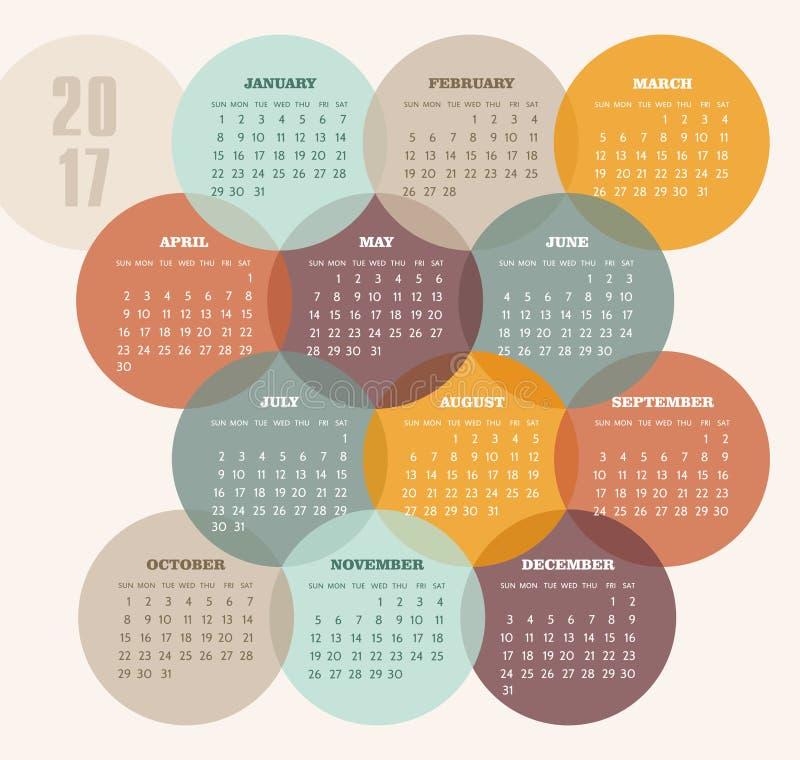 日历与色环的2017年 向量例证