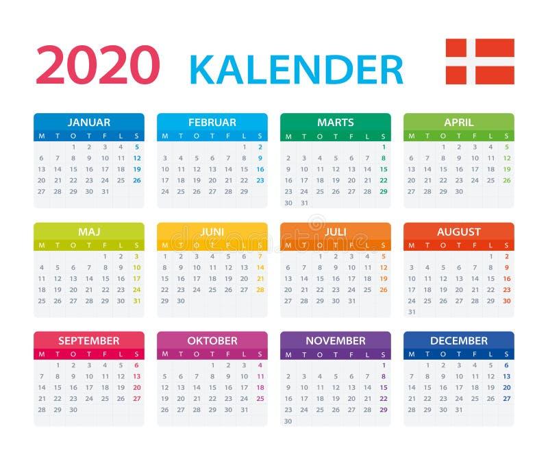 2020日历丹麦语-矢量图 皇族释放例证