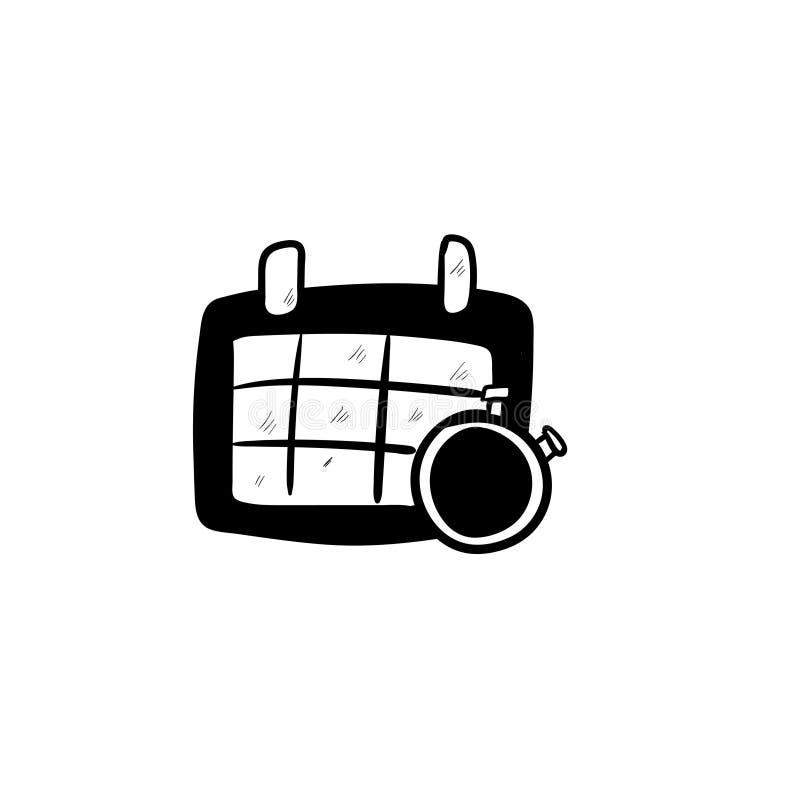 日历乱画象传染媒介手图画 免版税库存照片