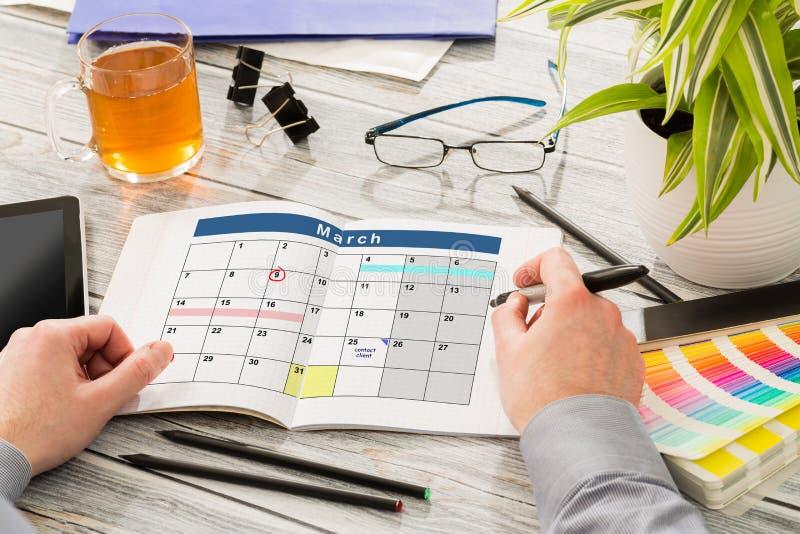 日历事件计划计划者组织 免版税库存照片