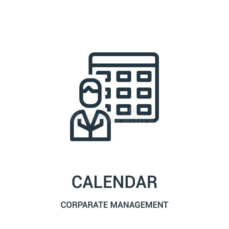 日历从公司管理汇集的象传染媒介 稀薄的线日历概述象传染媒介例证 线性标志为 库存例证