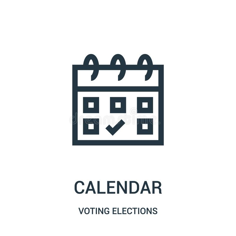 日历从投票的竞选收藏的象传染媒介 稀薄的线日历概述象传染媒介例证 向量例证