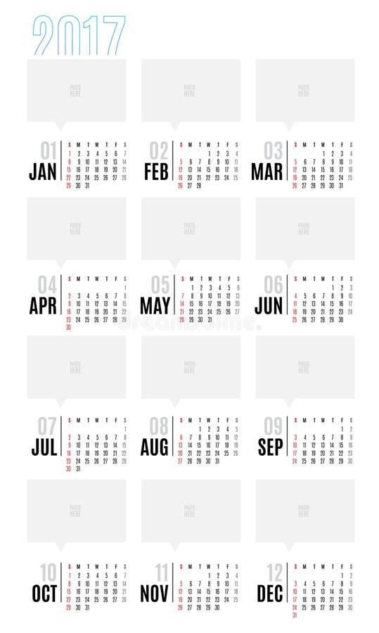 日历传染媒介2017年,与简单的basi的12个月日历 向量例证