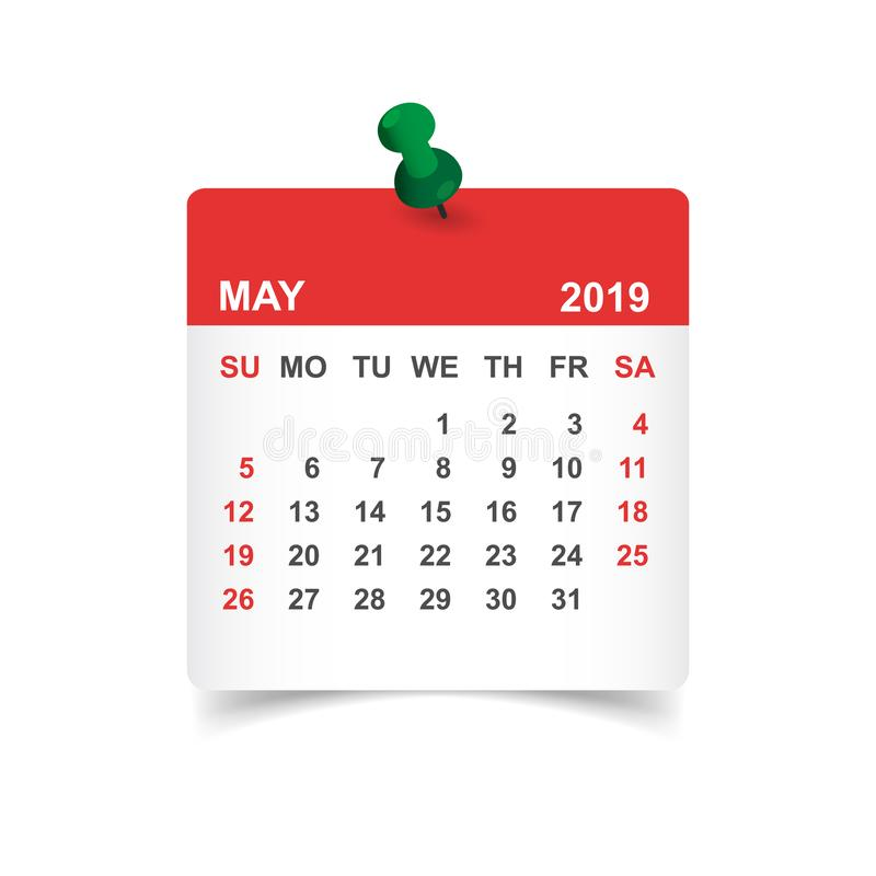 日历可以在纸贴纸的2019年与别针 日历plann 库存例证