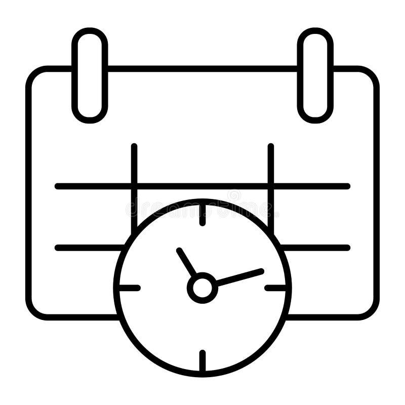 日历和时钟稀薄的线象 日期和时间导航在白色隔绝的例证 任命图表概述样式 库存例证