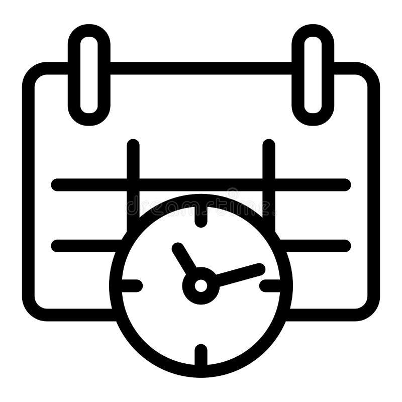 日历和时钟线象 日期和时间导航在白色隔绝的例证 任命图表概述样式 皇族释放例证