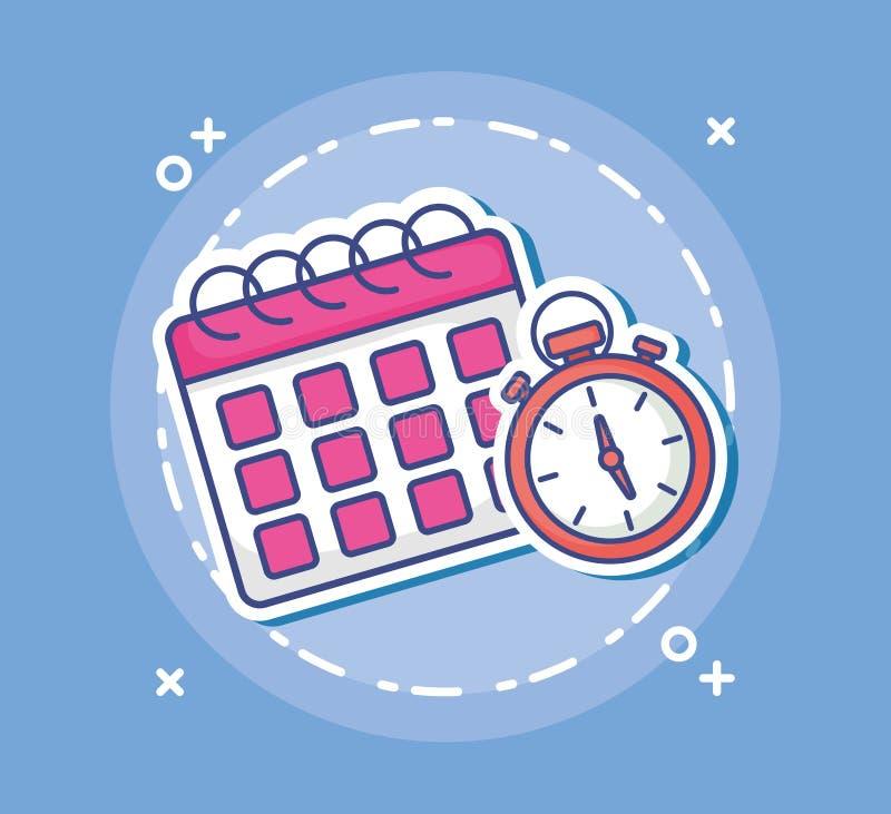 日历和计时表象 库存例证