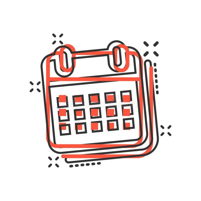 日历在可笑的样式的组织者象 任命事件传染媒介在白色被隔绝的背景的动画片例证 r 库存例证