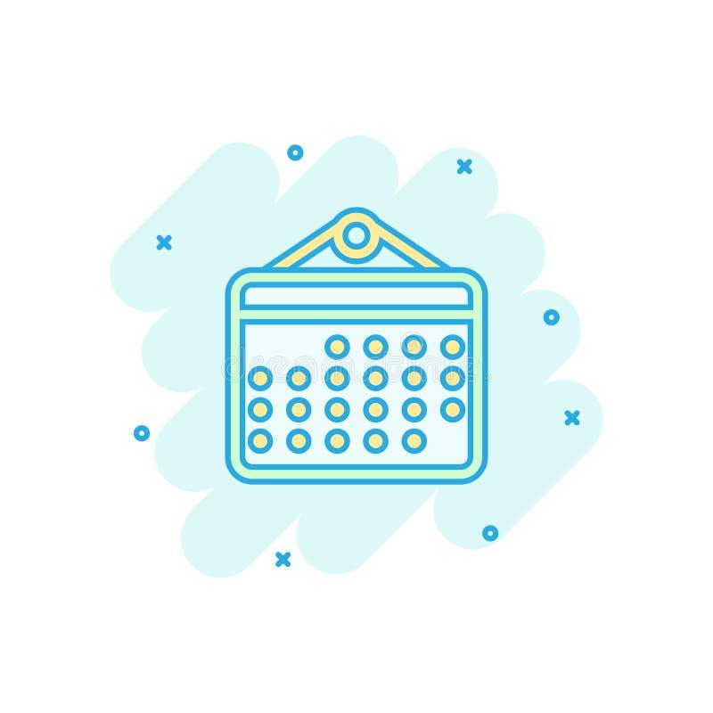 日历在可笑的样式的组织者象 任命事件传染媒介在白色被隔绝的背景的动画片例证 r 向量例证