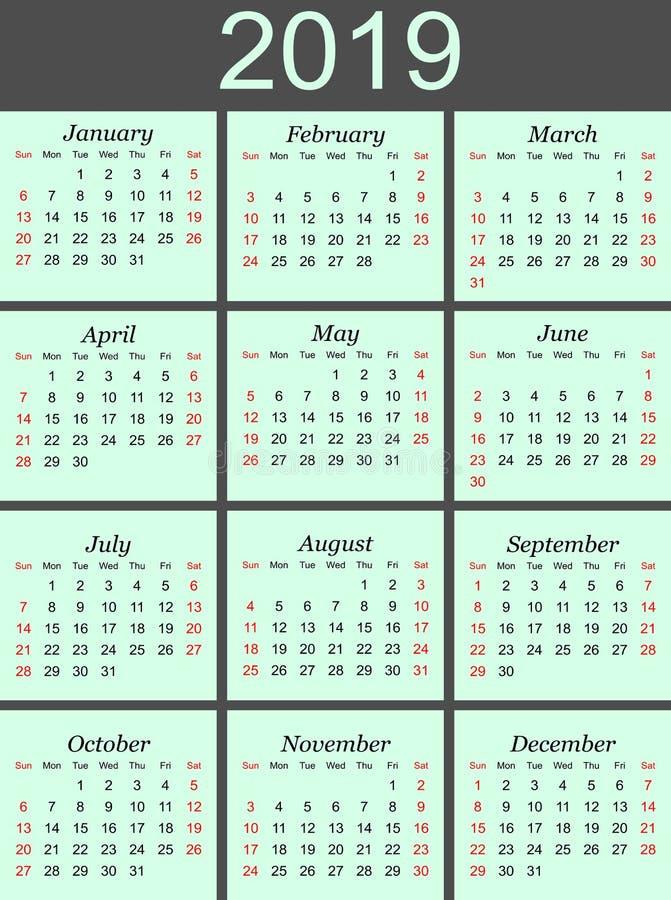 2019日历在蓝色背景中图片
