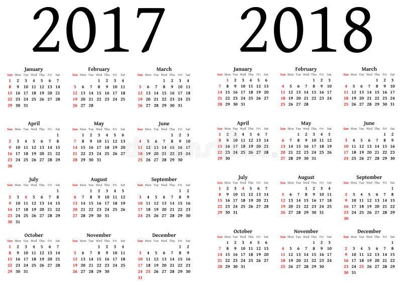 日历在2017年和2018年 库存例证