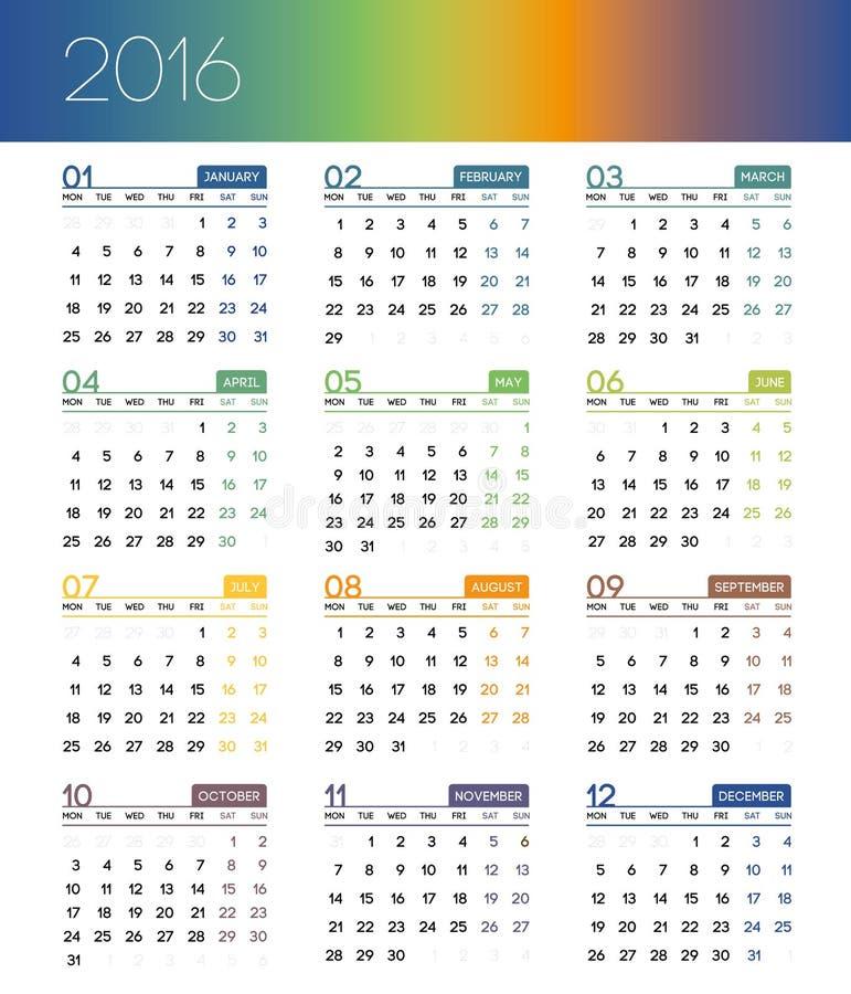 日历在2016年在白色背景 星期星期一开始 免版税库存照片