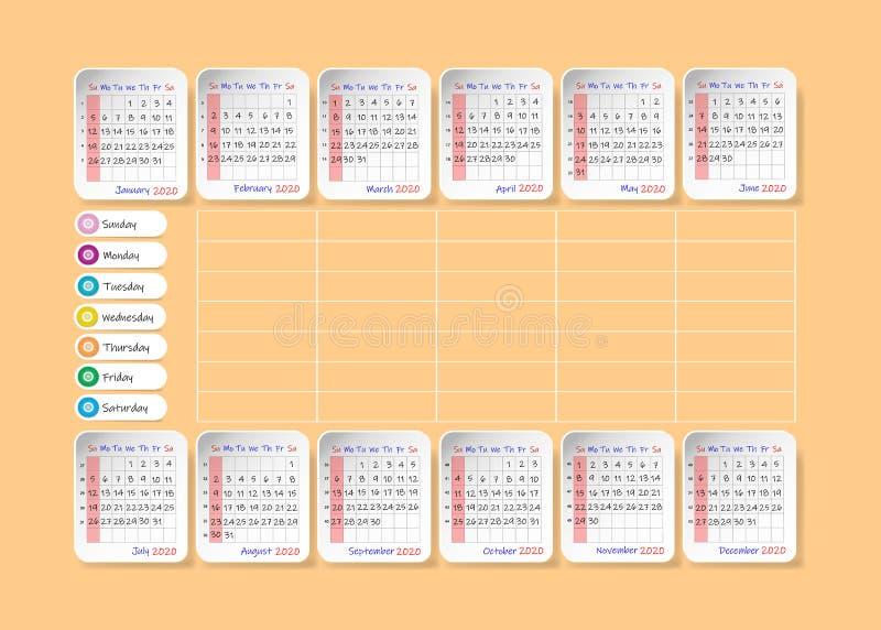 日历在2020年与每周计划者 库存例证