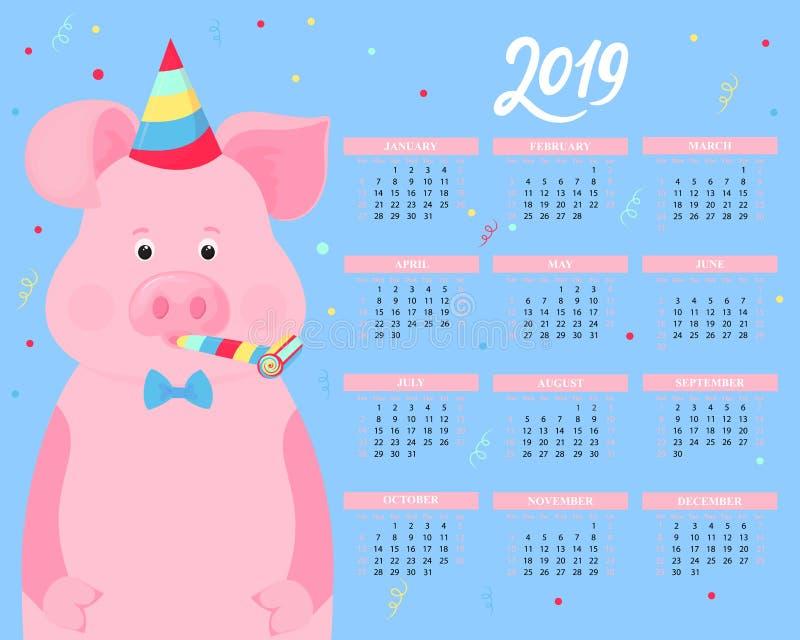 日历在2019年 在一个镶边党帽子和垫铁吹风机的逗人喜爱的猪 滑稽的动物 中国新年度 皇族释放例证