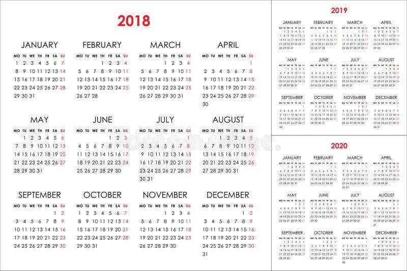 日历在2018年2019年, 2020年