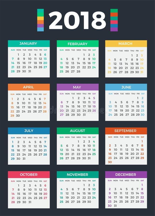 日历在2018年 皇族释放例证