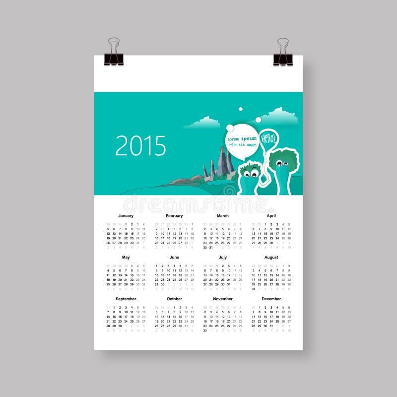 日历在2015年 向量例证
