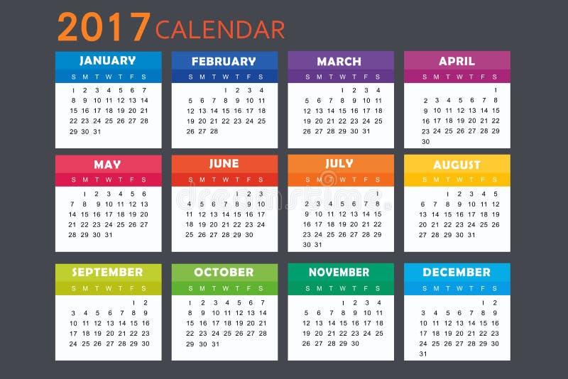 日历在2017年 库存例证