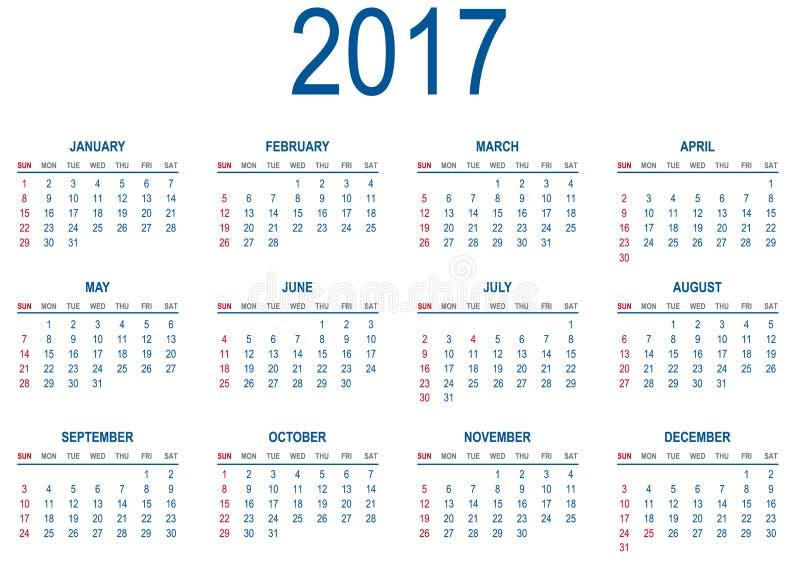 日历在2017年 皇族释放例证