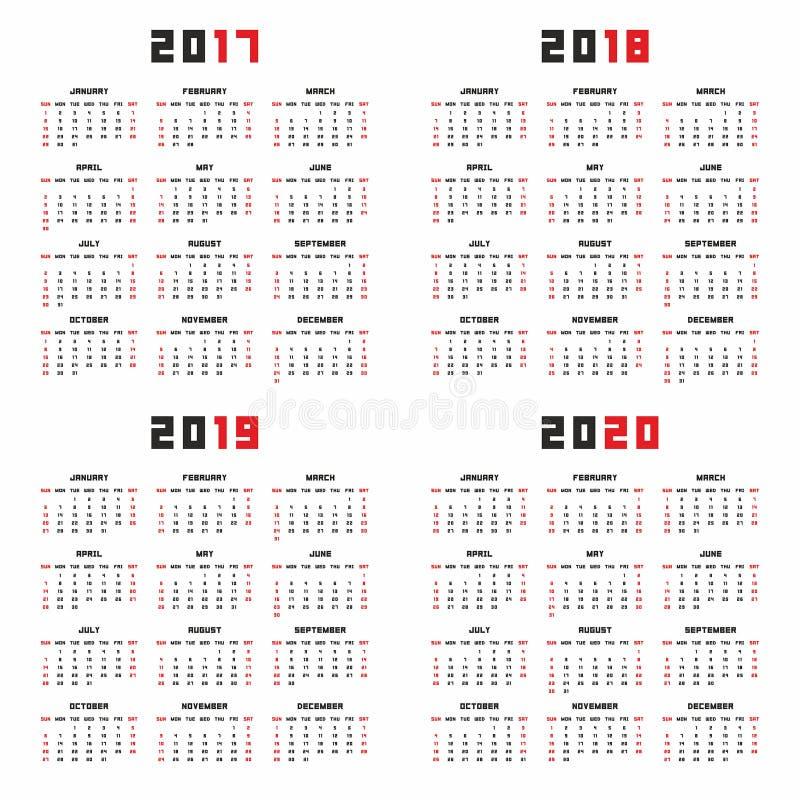日历在2017年2018年2019年2020年. 日历, 几年.