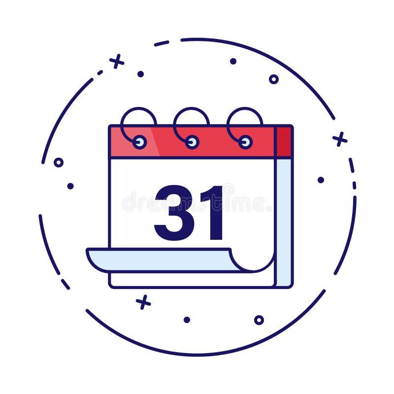 日历或计划者传染媒介例证寒假 12月31日例证 庆祝新年度 新的月,新 库存例证