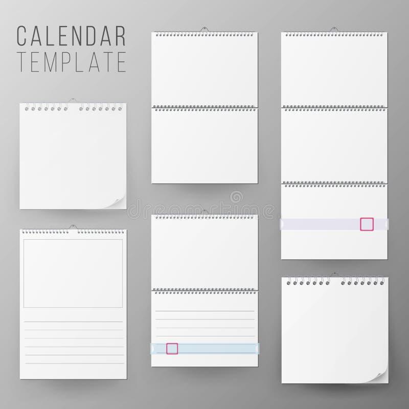 日历模板集合传染媒介 现实日历空白垂悬在墙壁上 空白的办公室日历嘲笑 可实现 库存例证
