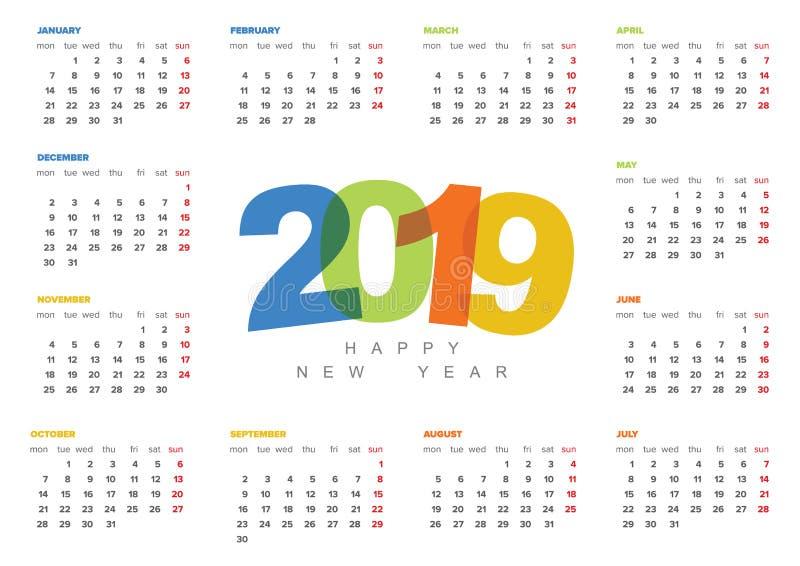 传染媒介日历模板年2019年图片