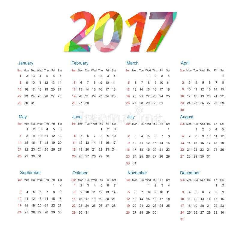 日历模板2017年 皇族释放例证