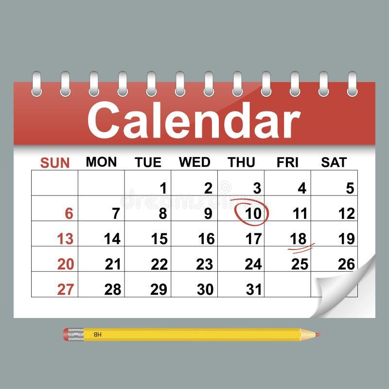 日历的传染媒介例证在平的样式的 向量例证