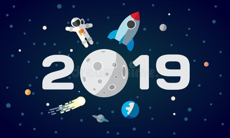 日历的平的空间题材例证 宇航员和火箭在月亮背景 2019年新年快乐盖子图片