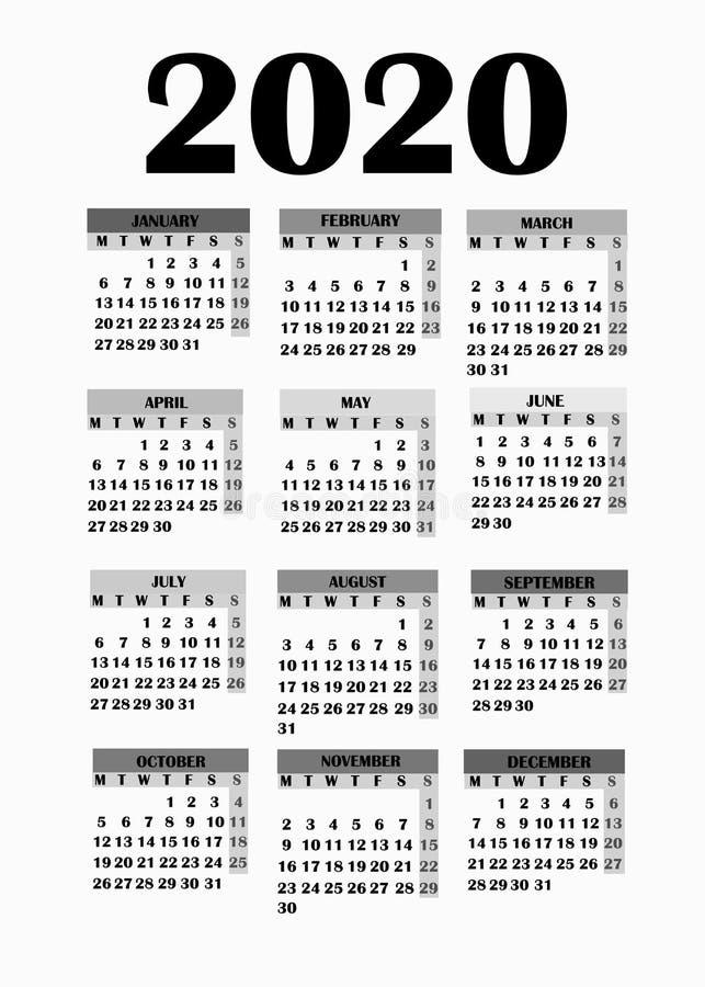 日历的简单设计2020年 向量例证图片
