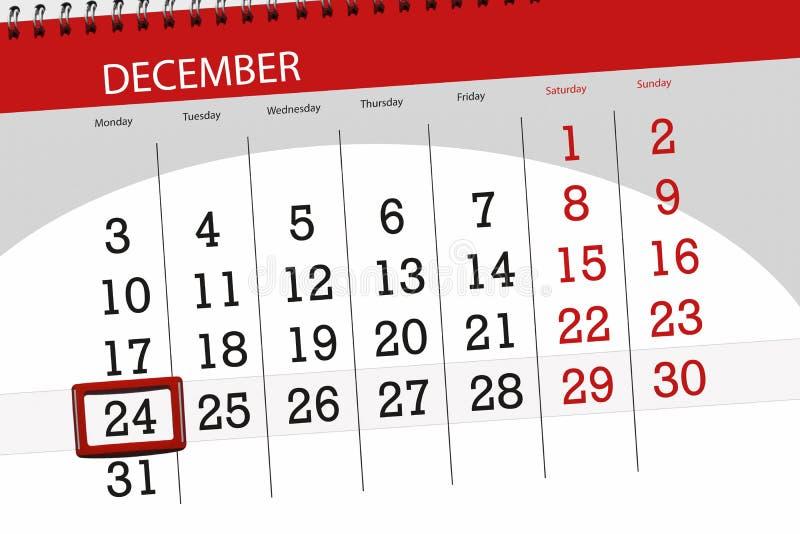 日历计划者为月天12月2018年,最后期限,星期一,24 免版税库存照片