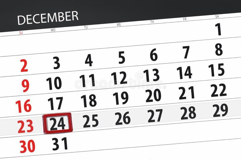日历计划者为月天12月2018年,最后期限,星期一,24 库存图片