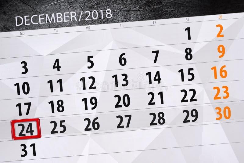 日历计划者为月天12月2018年,最后期限,星期一,24 库存照片