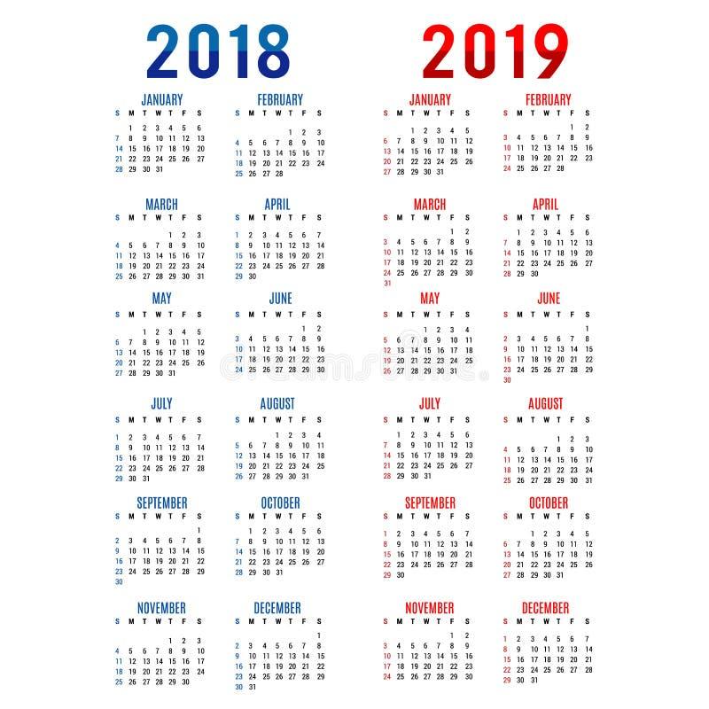日历计划者新年快乐2018年& 2019年贺卡文本印刷术设计传染媒介
