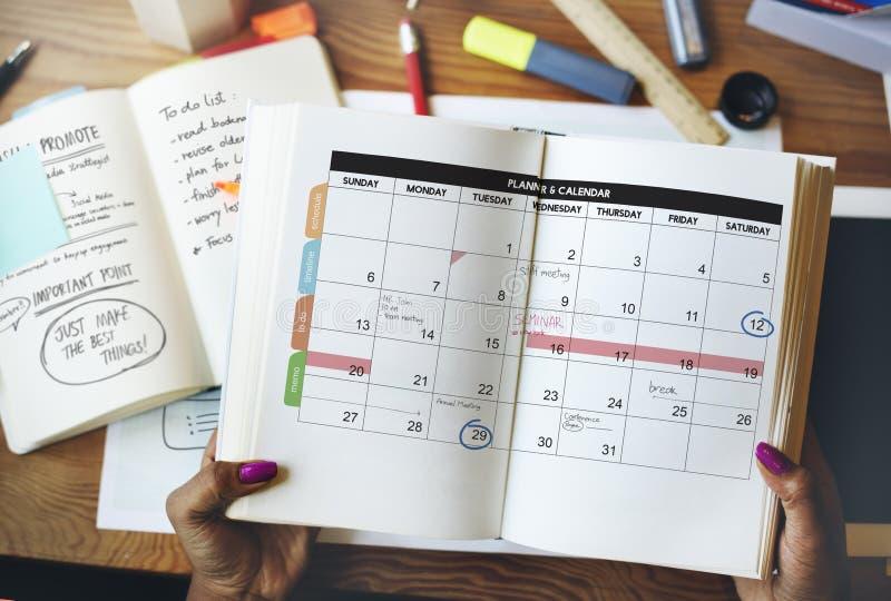 日历计划者组织管理提醒概念 免版税库存照片