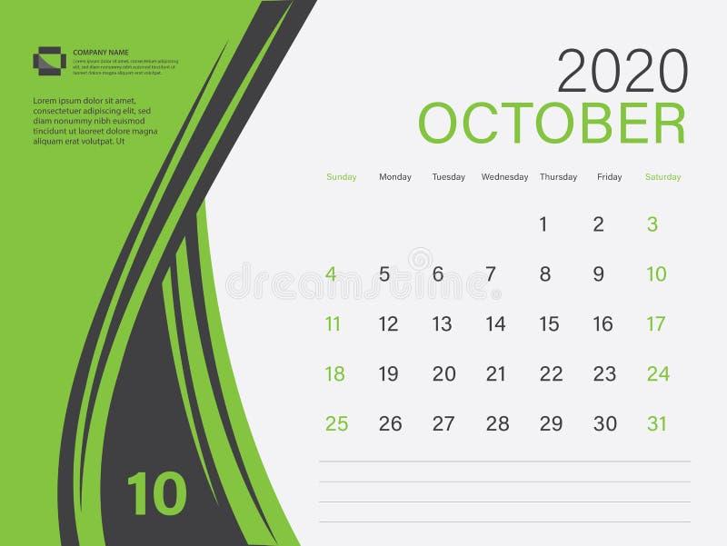 2020日历设计向量,桌面日历2020模板,OCTOM,绿色概念,星期日开始周,规划器,信纸 皇族释放例证