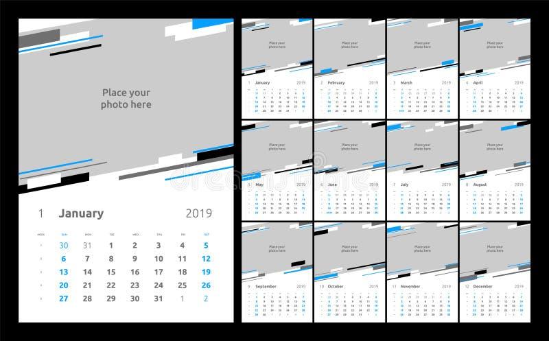 日历设计在2019年 设置12日历页导航设计与地方的印刷品模板照片的 向量例证